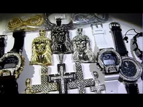 (SOLD)$385 22 piece WHOLESALE DEAL! Hip-Hop/Cross/Chain/Watch/Bracelet! FREE S/H LAB MADE JEWELRY