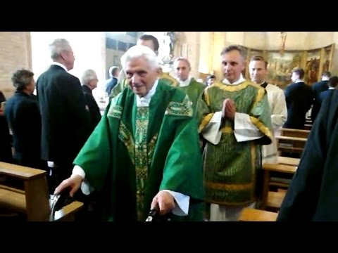 Pope Emeritus Benedict XVI at the end of a Mass
