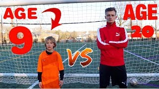 9 YEAR OLD vs 20 YEAR OLD FOOTBALL CHALLENGE !? (CRAZY SOCCER SKILLS)