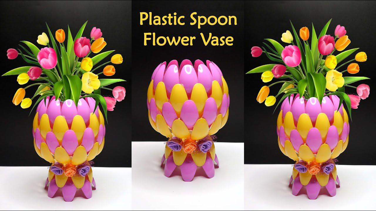 Ide Kreatif Vas Bunga Dari Sendok Plastik Youtube