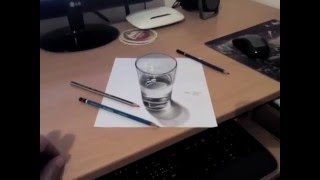 3D glass of water drawing