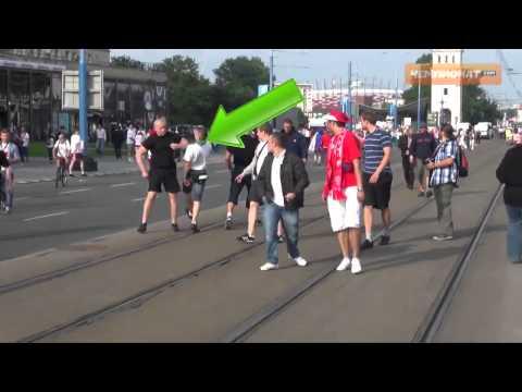 Драка футбольных болельщиков  в Польше.