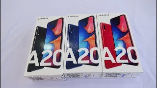 Samsung Galaxy A20 Black, Blue and Red colors unboxing and test camera