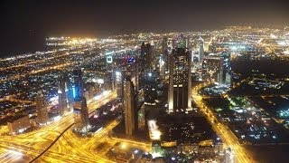 HD Amazing Views of Dubai From on Top of Burj Khalifa at Night Tallest Building in the World