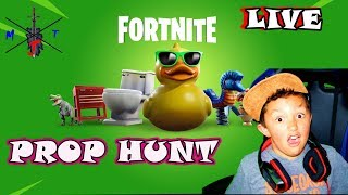 🍩 Live Fortnite Prop Hunt with Fans! Kid Gamer MinetheJ Lets Play family friendly!