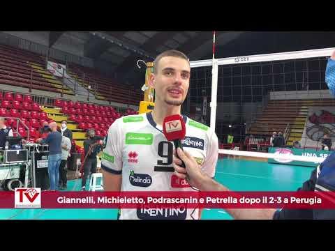 Giannelli, Michieletto, Podrascanin e Petrella dopo il 3-2 a Perugia in Champions