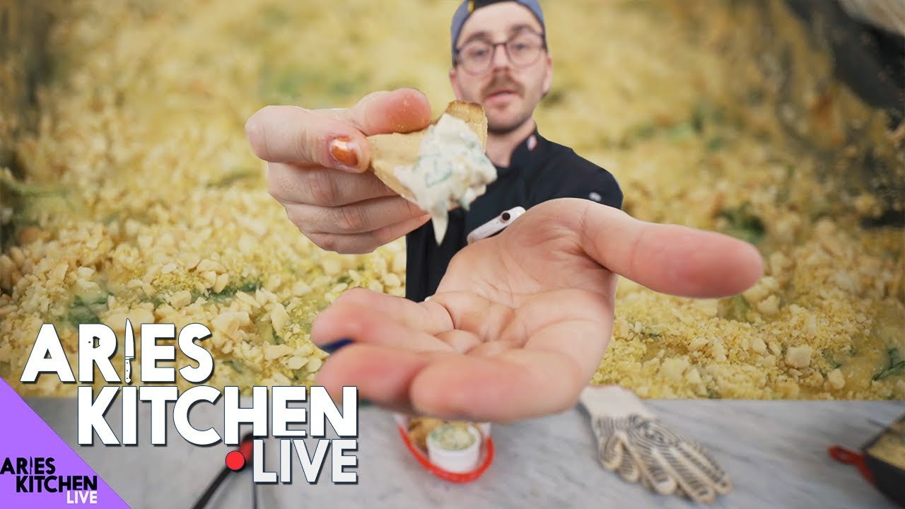 Aries Kitchen Live | Spinach Artichoke Dip and Pita Chips