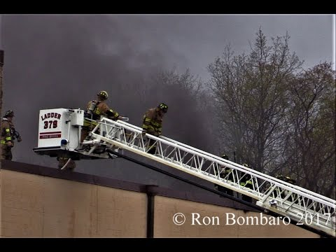 Parsippany NJ Fire Dept operates with mutual aid at a 3rd Alarm Fire 222 New Rd April 22nd 2017