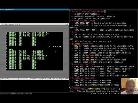 Assembly Language 03 Intro To 6502 Instruction Set Youtube