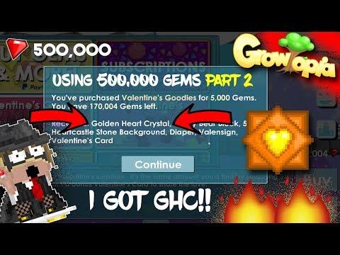 Growtopia I GOT GHC!!! OMG! USING 500K GEMS ON VALENTINE PACKS! (Valentine 2019)