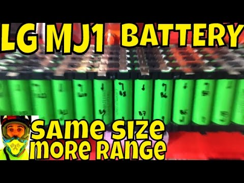 Newer 18650 cells, more range, same size! • LG MJ1 3500mA vs Panasonic PF 2900mA 52v 14s 5p battery
