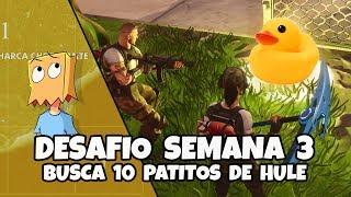 BUSCA PATITOS DE HULE (GOMA) 10 UBICACIONES | DESAFIO (MISION) SEMANA 3 TEMP 4 FORTNITE