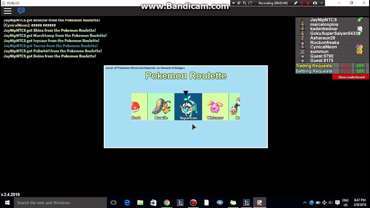 Pokemon roulette download cafeteria casino cheque vacance