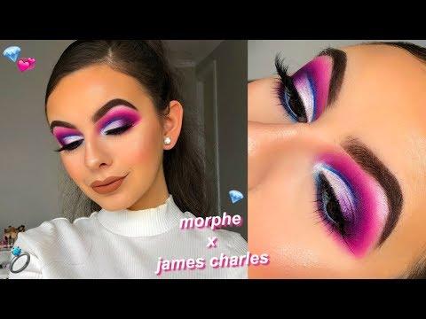 MORPHE X JAMES CHARLES PALETTE TUTORIAL   Ariana Grande 7 Rings Inspired Makeup thumbnail