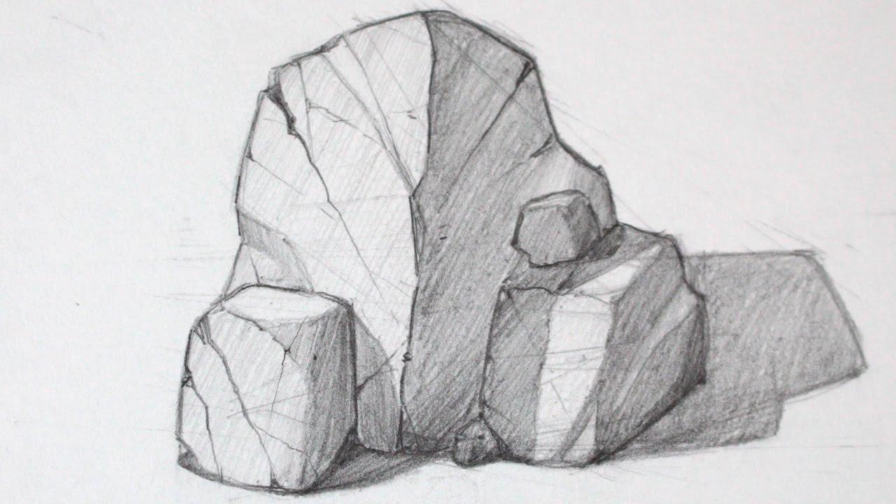 How To Draw Rocks Basic Shapes Youtube