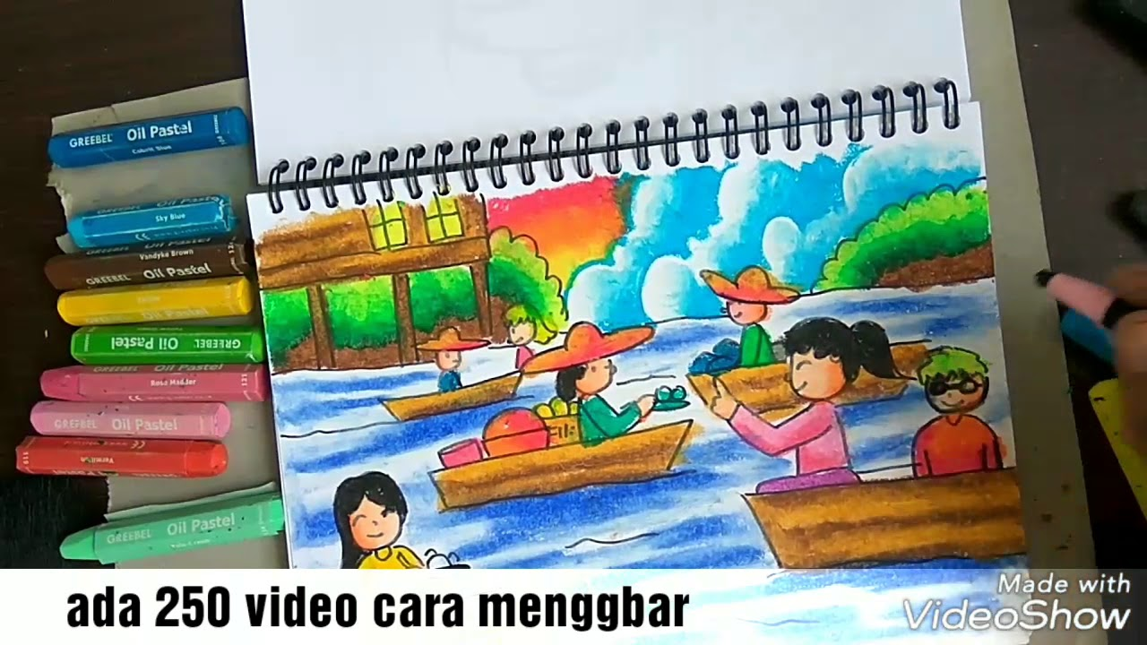 Cara Mewarnai Pasar Apung Kalimantan Dengan Crayon Youtube