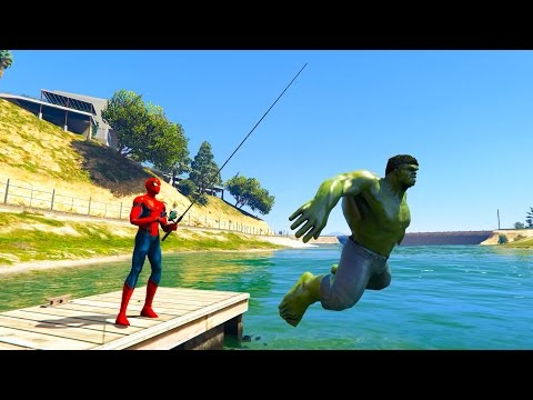 Thumbnail: Spiderman catch Hulk-fish in a Lake! Funny Cartoons for kids.
