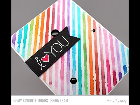 Rainbow Watercolor Stripes Card