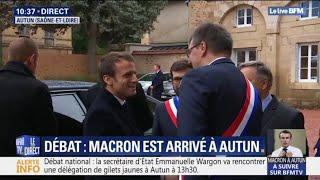 2030194acc2cb Débat national  Emmanuel Macron vient d arriver à Autun et va échanger avec  les élus locaux