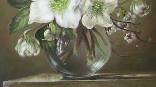 Уроки живописи. Натюрморт с цветами  Часть 4(Окончание копирования натюрморта с цветами. (Сессил Кенеди) Рисуем листья, белые цветы. Осталось покрыть..., 2016-05-05T16:45:28.000Z)
