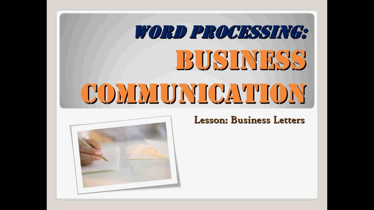 Business Communication Business Letters Youtube