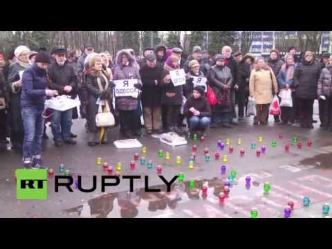 Ukraine: Black balloons fly over Odessa for May 2 massacre victims