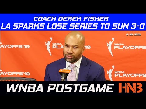 Coach Derek Fisher Postgame Press Conference as LA Sparks lose series to Connecticut Sun