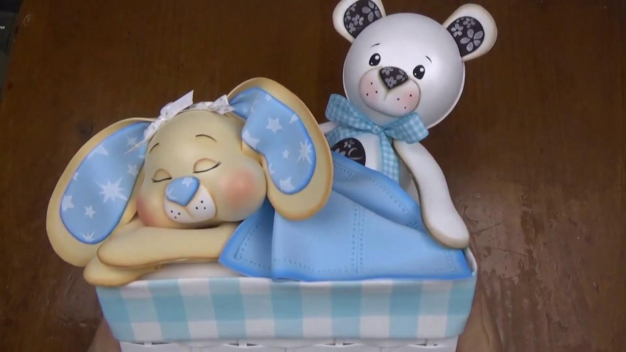 Caja decorada en goma eva para canastilla de beb 1 parte - Cajas decoradas para bebes ...
