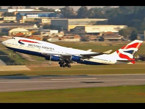 Linda decolagem do jumbão da British - Boeing 747-400