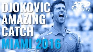 Djokovic amazing ball-in-pocket catch at 2016 Miami Open