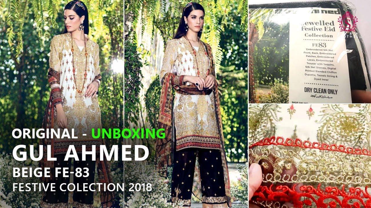 07b19f5e6c Gul Ahmed Festive Eid Collection 2018 - Unbox Beige FE83 - Pakistani  Dresses 2018