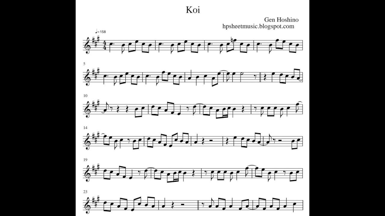 Sheet music gen hoshino koi youtube for Koi hoshino gen