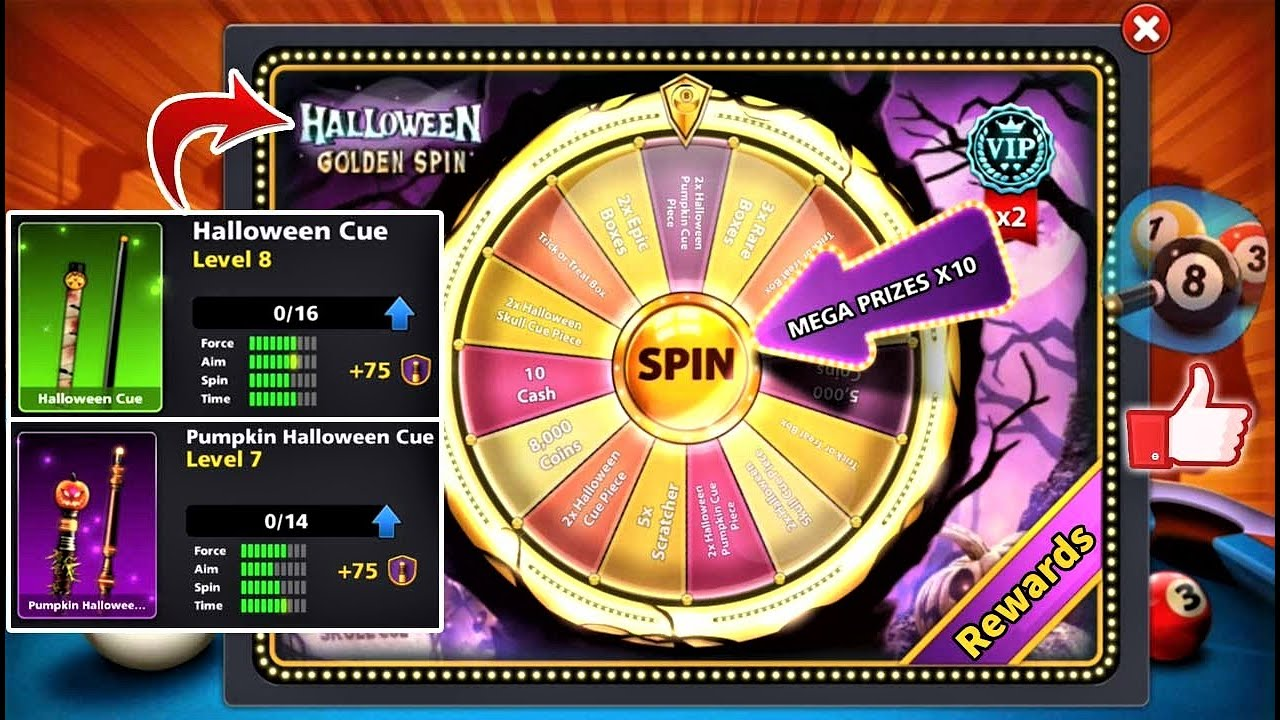 8 ball pool Halloween Golden Spin 🙃 Free 2 Cue