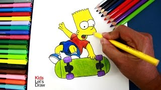 Cómo dibujar a BART SIMPSON con su patineta | How to draw Bart Simpson (The Simpsons)