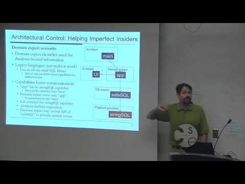 """PLSE Seminar Series J. Aldrich """"Using Capability-Based Modules to Enforce Secure Resource Usage"""""""