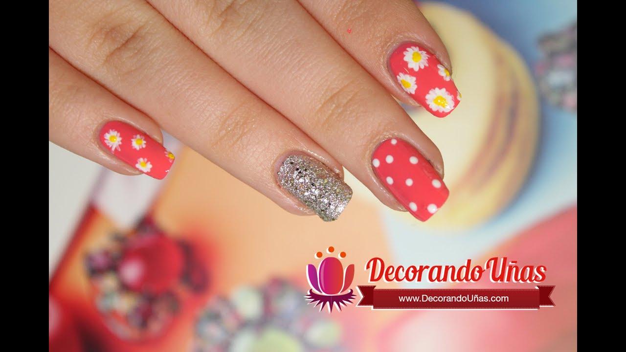 U as decoradas con margaritas puntos y brillos youtube - Unas decoradas con esmalte ...
