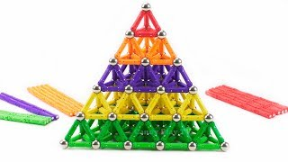 How to Make Huge Colored Pyramid with magnetic sticks and balls | Learn Colors for Children