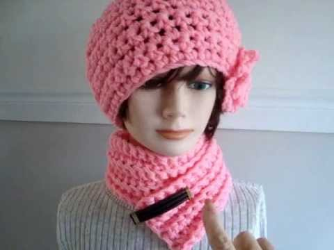CROCHET HAT AND SCARF SET, link to SweetPotatoPatterns - YouTube