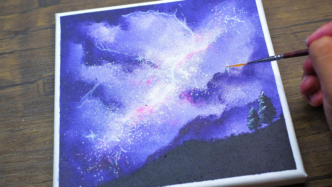 Watercolor Milky Way Sky Painting Demonstration - YouTube