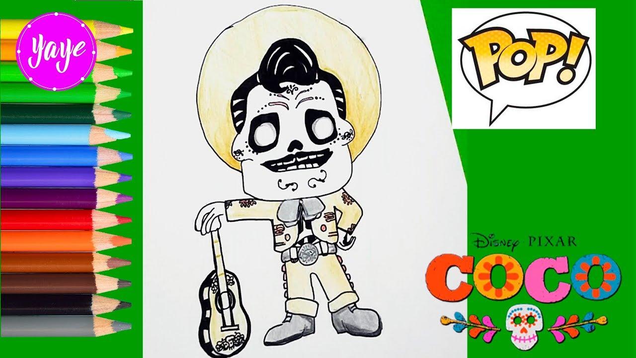 Miguel Coco Para Colorear: Cómo Dibujar Y Colorear A Ernesto De Funko Pop-COCO DISNEY