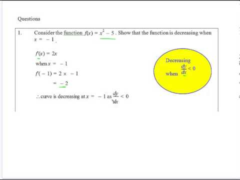 Geometrical Applications of Calculus Sign of the Derivative 1 ...
