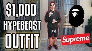 THE $1,000 HYPEBEAST OUTFIT CHALLENGE! (SUPREME AND BAPE)