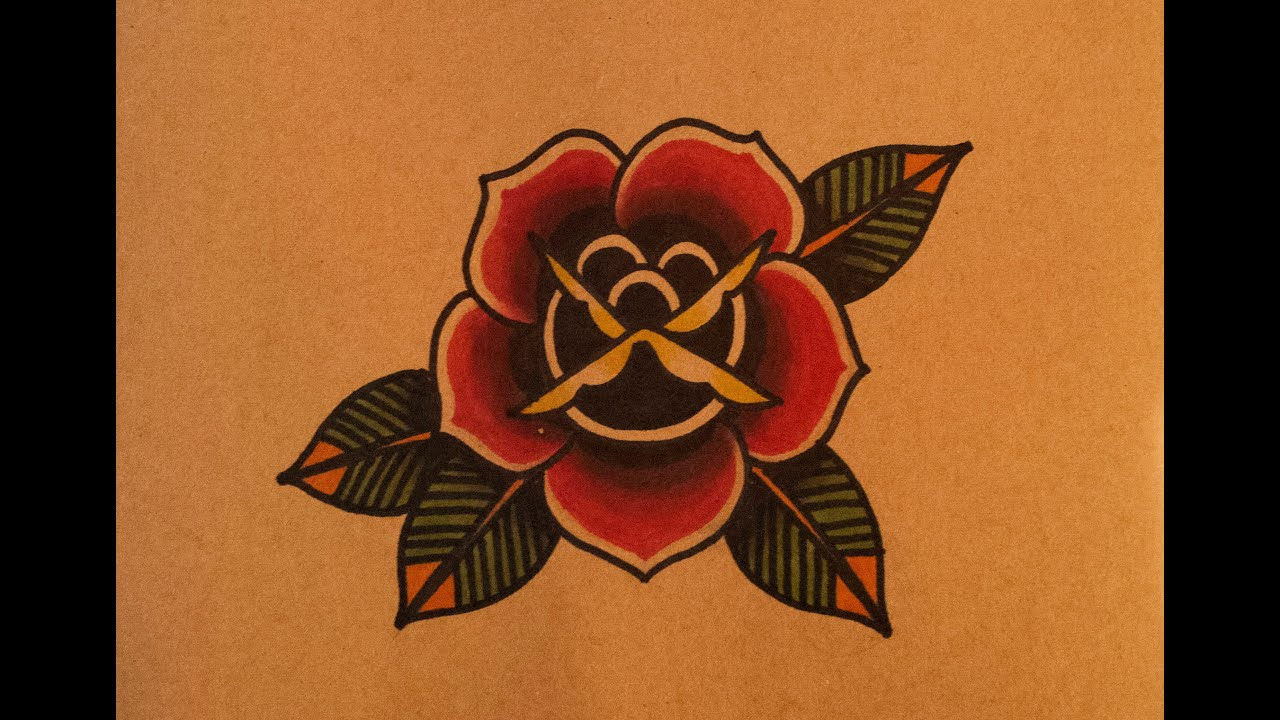 Rose Flower Tattoo Flash