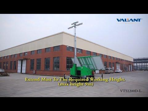 600 Watt LED Solar Light Tower With 9 Meters Hydraulic Mast,Four 335 Watt Solar Panels.