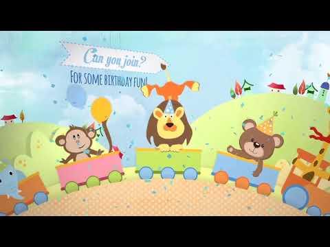 Jungle Theme Birthday Invitation Card Video Slideshow Photo