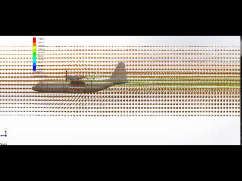 Blended Body Stealth Military Cargo Aircraft Design - Side Arrows Simulation