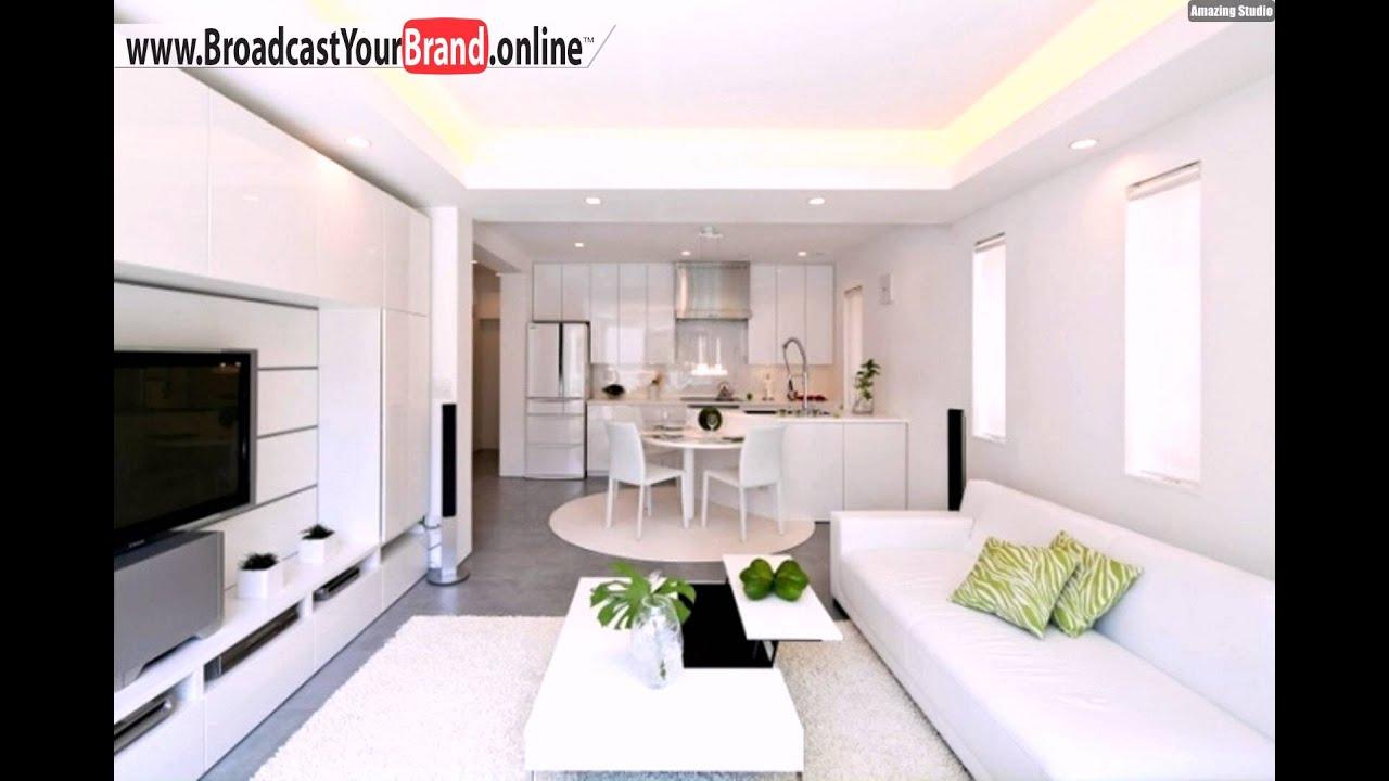 Wohnzimmer Küche In Einem Pur Weiß Hochglanz Grüne Akzente - YouTube