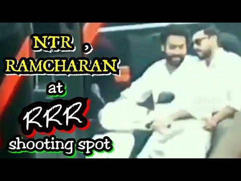 Ntr ram Charan scooty driving at Rajamouli RRR shooting spot ||