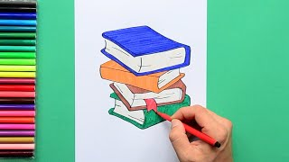 How to draw and color a stack of books