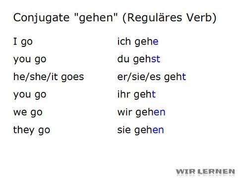 "Learn German: How to conjugate regular verbs (such as ""gehen"")"
